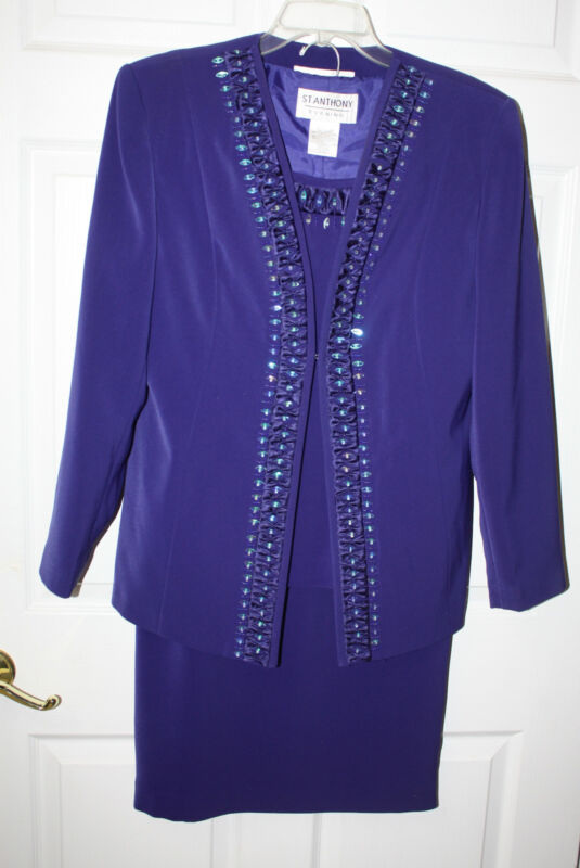Womens St. Anthony Evening Royal Purple Beaded 3 Pc. Skirt Suit Size 10