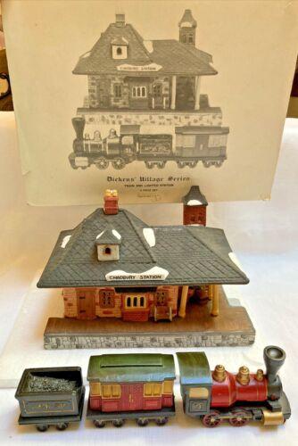 Dept 56 Dickens Village Series CHADBURY TRAIN & LIGHTED STATION ~ 1986 OLD! 4pcs