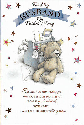 """HUSBAND FATHER'S DAY GREETING CARD 9""""X6"""" CUTE FREE P&P"""