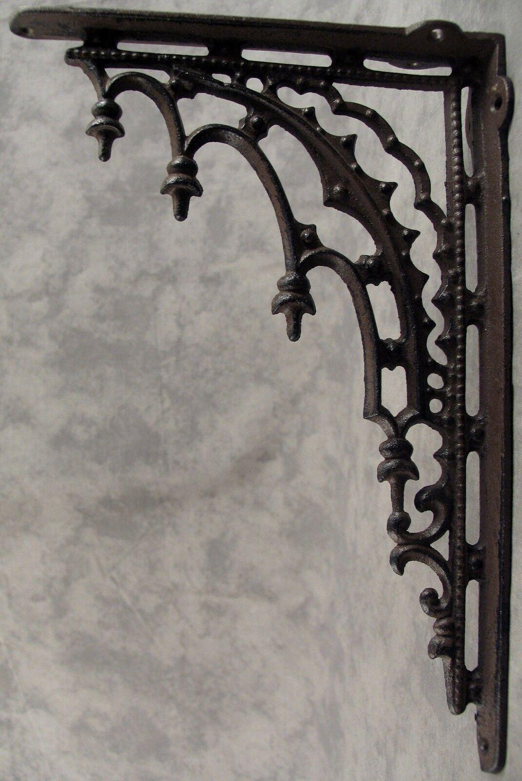 Купить 2 ARCHITECTURAL GOTHIC RENAISSANCE Cast Iron SHELF BRACKETS WALL CORNER BRACKETS