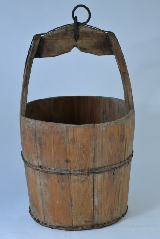 Rare Antique 19th Century Wooden Well Bucket / Wishing Well 1800s Primitive