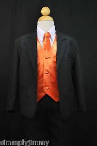 S1 Boy Formal Party Black Tuxedo Suit Orange Vest Tie 1 2 3 4 5 6 7 8 10 12 14