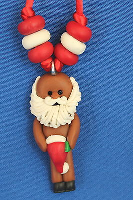 Black African American Naked Santa Necklace - Christmas