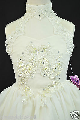Infant Toddler Girl Party National Glitz Pageant Short Ivory Dress Sz 2 3 4 5 6