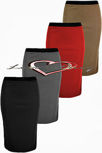 Womens-Work-Office-School-Stretch-Elasticated-Waist-Long-Bodycon-Pencil-Skirt