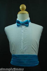 TURQUOISE-Cummerbund-Cumberband-Bow-tie-Set-4-Baby-to-Boy-Tuxedo-Suit-Sz-S-28