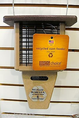 BIRDS CHOICE SUET FEEDER- SINGLE CAKE- RECYCLED POLY-LUMBER - BROWN ROOF- SNTPB