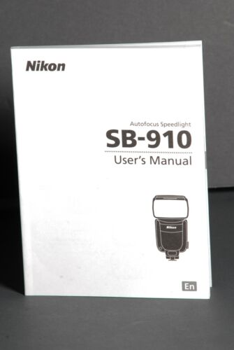 Nikon SB-910 Speedlight Camera Flash Instruction Book / Manual / User Guide