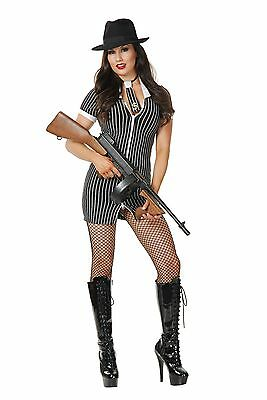 New Gangster Moll Double Zip Womans Costume by Charades 1931 - Gangster Moll Costumes