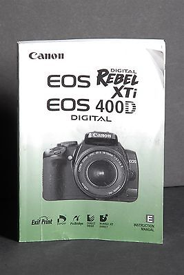 Canon EOS Digital Rebel XTi / 400D Camera Instruction Book / Manual / Guide