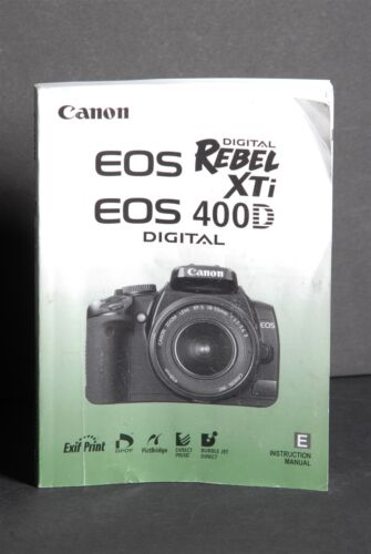 canon genuine eos 400d xti digital camera instruction book rh bayshop com canon rebel xti user manual pdf canon rebel xt user manual pdf
