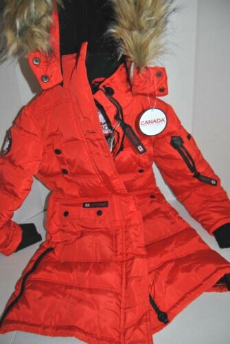NWOT Canada Weathergear Red Longer Hooded Puffer Parka Coat Youth 7/8