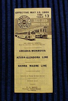 Pacific Electric Pocket Time Table - #13 Arcadia - Monrovia - 5/12/50