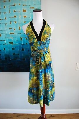BCBG Max Azria Halter Womens Multi Colored Stretchy Halter Dress Size XS