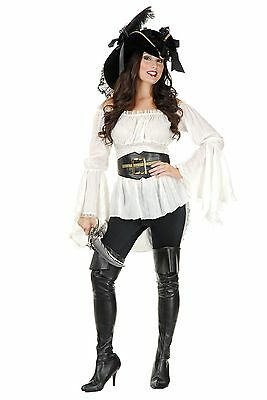 Pirate Lady Vixen Blouse Renaissance Top for Women Cream New by Charades 02307 - Lady Pirate Costumes