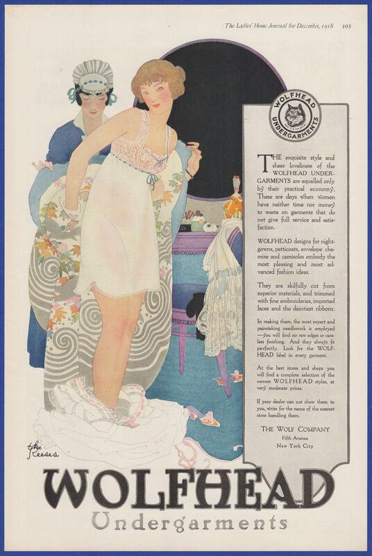 Vintage 1918 WOLFHEAD Undergarments Lingerie The Reeses Art Ephemera Print Ad