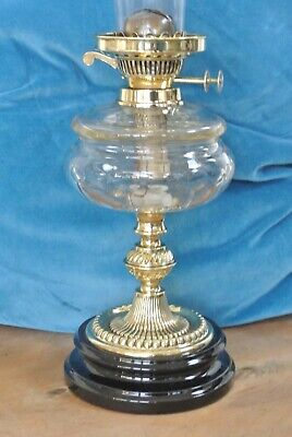 Quality Victorian cut glass & brass oil lamp & chimney Circa 1890-1900