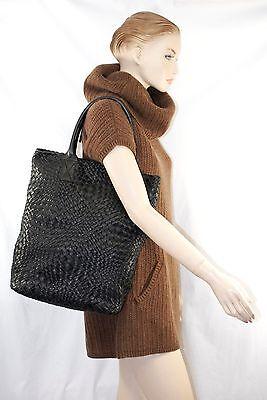 $995 FALORNI F901 BLACK Woven Leather Tote Shoulder Hand Bag Women falor ITALY