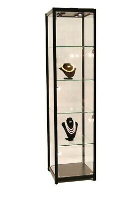 Black Aluminum Framed Tempered Glass Tower Display Showcase With Lock Led
