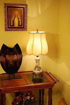 "Elegant Vintage Floral Bouquet Rose Reticulated Porcelain Electric Lamp 17"""