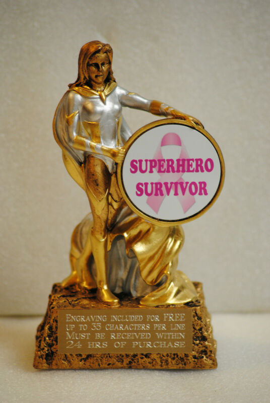 Female Superhero Survivor Breast Cancer Survivor Awareness Trophy Award Gift