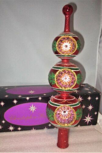 Christopher Radko Reflector Holly Wreath Glass Tree Topper Finial Mint +BOX MIB