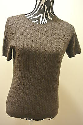 New/NO TAG.Ladies' 346 brooks brothers brown crewneck short sleeve sweater;M - Ladies Short Sleeve Crewneck Sweater