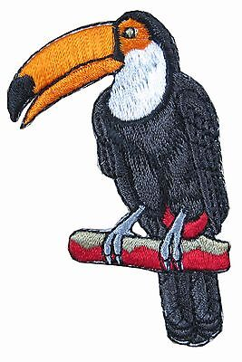 "#4305 4/""H Tropical Bird Toucan Embroidery Iron On Appliqué Patch"