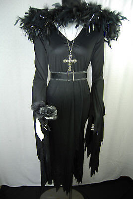 Women's Gothic Witch Costume with Accessories & Mario Chiodo Hat Medium New](Witch Costume Accessories)