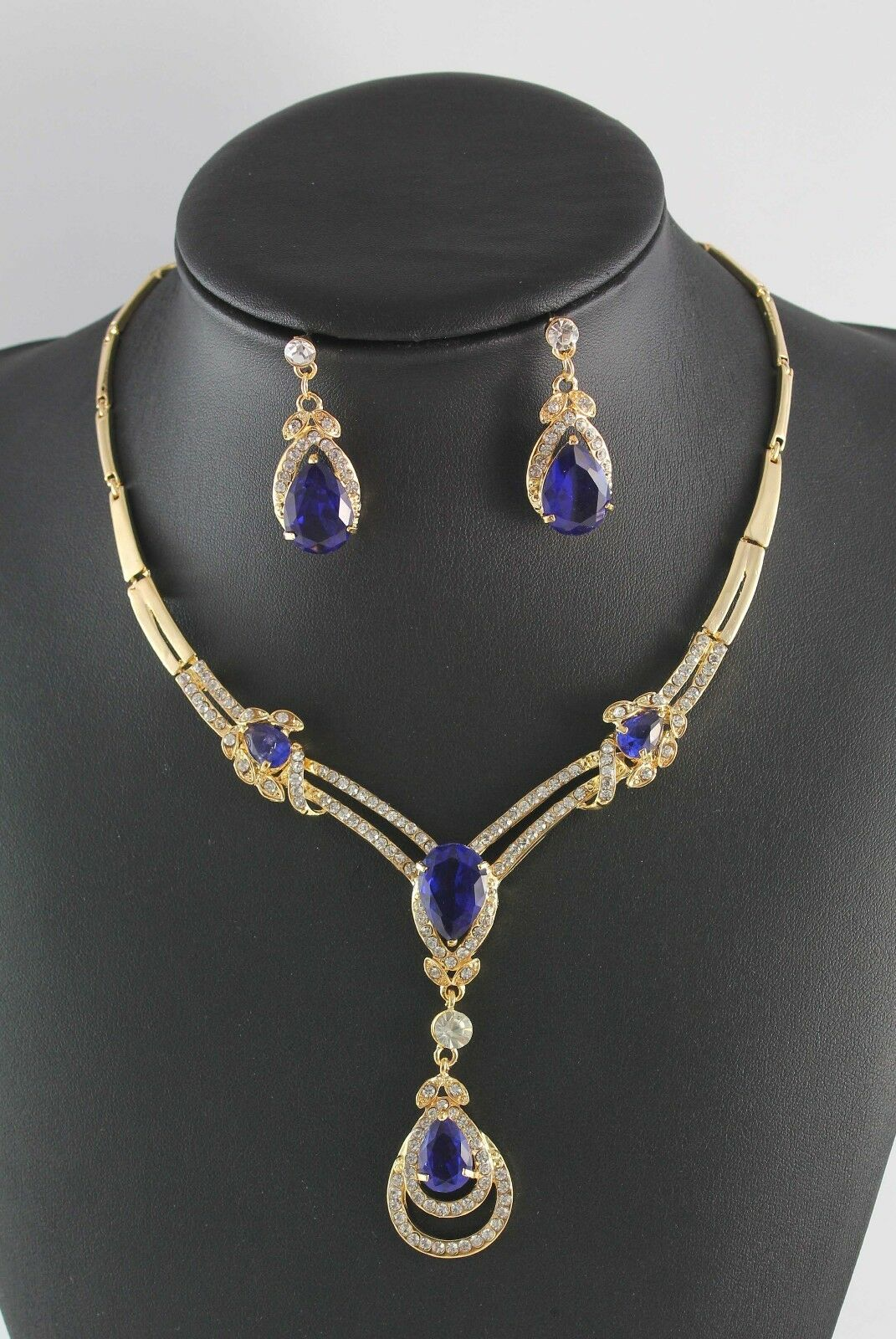 sapphire necklace and earrings set yellow gold plated blue sapphire topaz necklace 1542