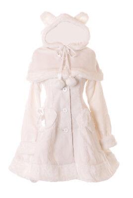 JL-903 Creme-Weiß Damen Winter Teddy Kapuzen Mantel Jacke Cape Victorian Kostüm