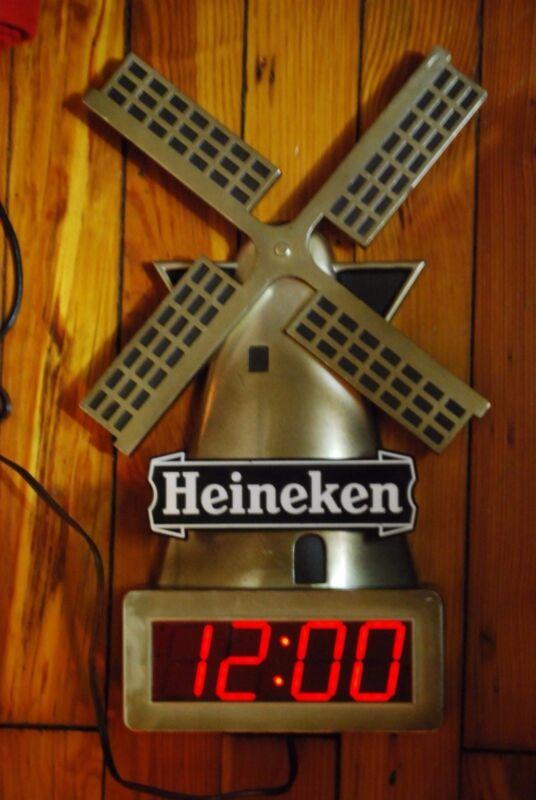 Vintage Heineken German Beer Gold Wind Mill Digital Clock Sign