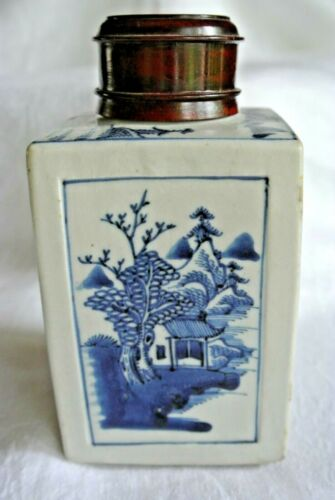 Antique Asian Chinese Porcelain Tea Caddy Box Blue Artemisia Leaf Mark Kangxi ?