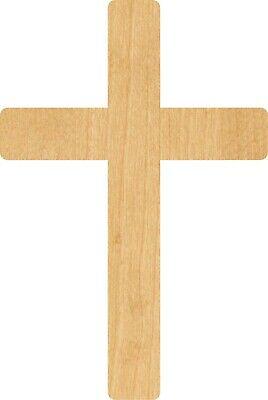 Cross #0336 Laser Cut Out Wood Shape Craft Supply - Woodcraft - Unfinished Wood Cross
