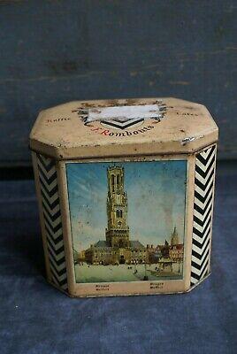 Ancienne BOITE à Café F. Rombouts en Métal Décor Bruges Collection dans son jus