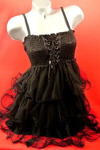 1XL-BLacK-CORSET-Victorian-CHIFFON-DRESS-Punk-Rockabilly-PINUP-GOTHIC-Torrid-BoW