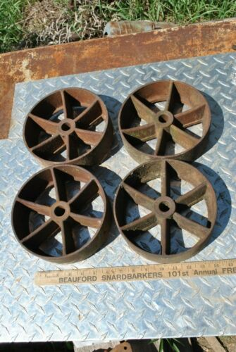 Vintage Antique Cast Iron Wheels Hit Miss Gas Engine Steam Industrial Cart