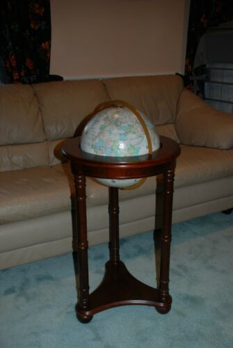 "Vintage Replogle 12"" Globe on Cherry Wooden Stand"