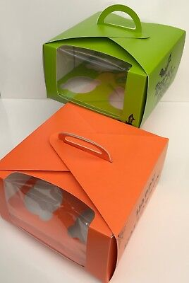2 X HALLOWEEN HOLDS 4 CUPCAKES Trick or Treat Loot Boxes Orange and Green ()