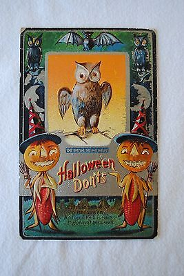 Antique Embossed Postcard Halloween Don'ts 1900s ML Jackson Co., Owls & Bat