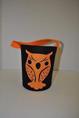 Halloween Trick or Treat Owl Felt Bucket Bag Pail - Halloween Buckets