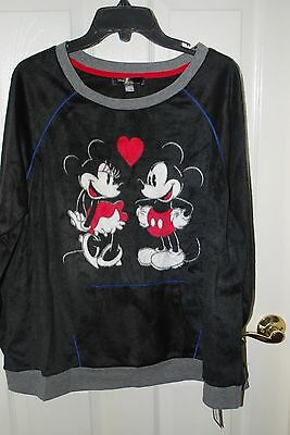NWT WOMEN'S DISNEY LUXE MICKEY MINNIE MOUSE LOVE PAJAMA PJ FLEECE SHIRT S SMALL - Disney Luxe Pajamas