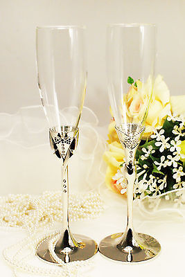 Personalized Wedding Champagne Flutes (Personalized Wedding Toasting Flutes Champagne Glasses Sets Bride&Groom Pair)