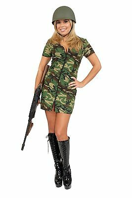 New Double Zip GI Gal Womans Army Costume by Charades 01687 Costumania - Army Costume Woman
