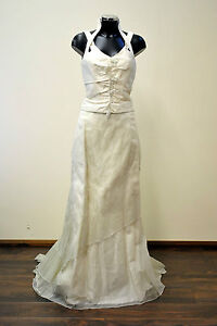 NEW-UK12-LINEA-RAFFAELLI-Wedding-Dress-Vintage-Boho-Style-was-1050-Ivory-Grey