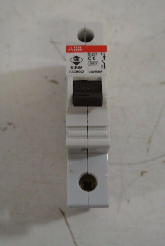 ABB Single Pole 6 Amp 230/400 Volt Circuit Breaker Cat:  S 231 C6