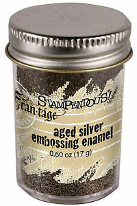 Embossing-Powder-Frantage-Aged-Silver-Embossing-Enamel-65oz-Jar-Stampendous-NEW