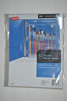 Staples 15 Pocket Binder Sleeve Great For Art Supplies Crayons Brushes 28032