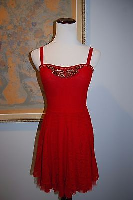 Free People BEST SELLER Fit 'n Flare Dress Sz XS Red Beaded