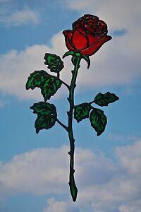 Handmade Long Stemmed Red Rose Peelable Suncatcher/Window Cling/Window Sticker